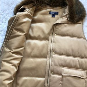 Jones New York Gold Puffer Vest W/Fur XL NWOT